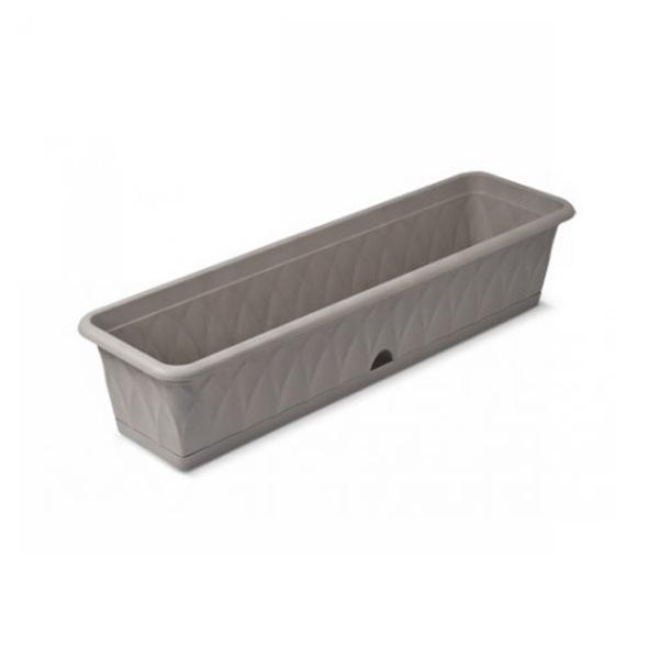 Ящик для растений ″Сиена″ 81см с поддоном серый С174-03-СЕР (Серый) купить оптом и в розницу