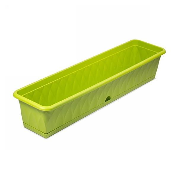 Ящик для растений ″Сиена″ 93см с поддоном зеленый С175-03-ЗЕЛ (Зеленый) купить оптом и в розницу
