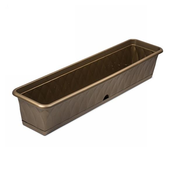 Ящик для растений ″Сиена″ 93см с поддоном золотой С175-03-ЗОЛ (Золотой) купить оптом и в розницу