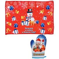 Набор полотенце и варежка ″Успехов и побед в Новом году!″, Снеговичок купить оптом и в розницу