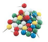 Кнопки канц.-гвоздики YIWU 50шт с кругл. головкой, цветные п/у купить оптом и в розницу