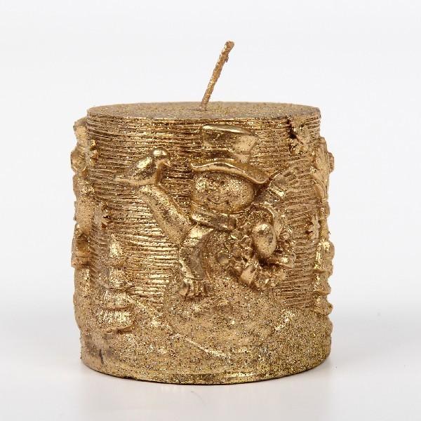 Свеча Новогодняя ″Снеговик ″ столбик 9см золото купить оптом и в розницу