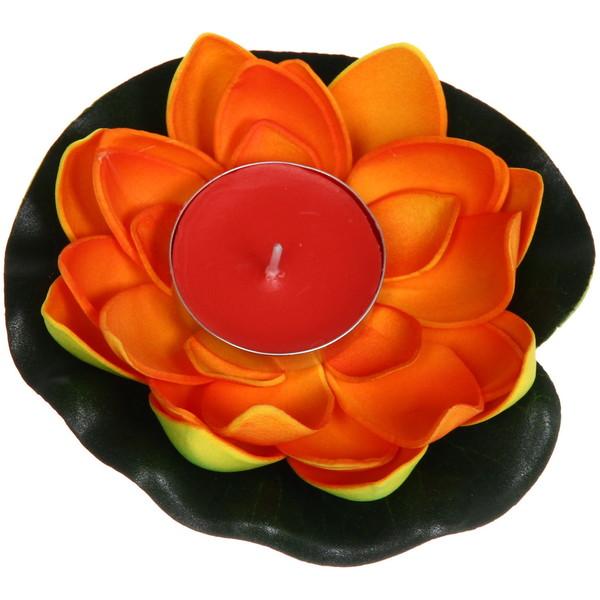 Растение водоплавающее ″Лотос″ d- 10см со свечой оранжевый купить оптом и в розницу