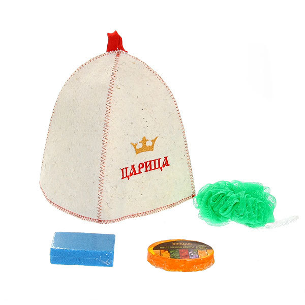 Набор для бани ″Царица″ (шапка,мочалка, мыло,пемза) Б32306 купить оптом и в розницу