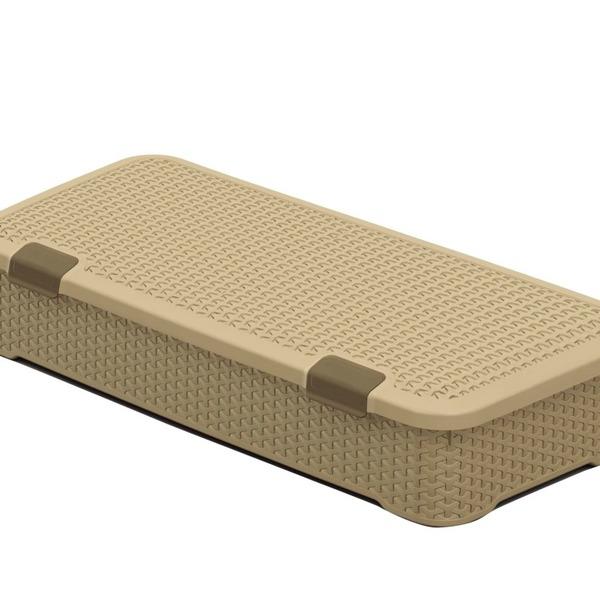 Ящик Люкс плетеный с крышкой M(беж) *6 (790 x 380 x 175)мм купить оптом и в розницу