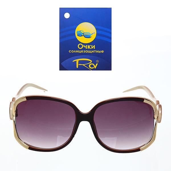 Очки солнцезащитные женские, форма прямоуголная ″Коллекция Донателла″, цвет черный, на дужке круги купить оптом и в розницу