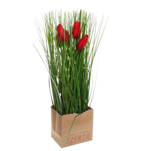 Цветы искусственные 35см Трава с тюльпанами в пакетике YE10239 купить оптом и в розницу