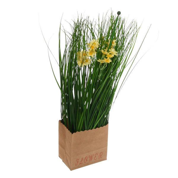 Цветы искусственные 35см Трава с ромашками в пакетике YE10236 купить оптом и в розницу