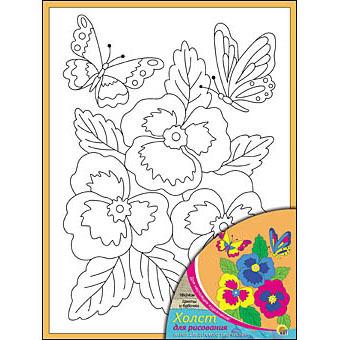 Набор ДТ Роспись по холсту Цветы и бабочки Х-0312 купить оптом и в розницу