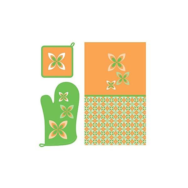 Набор кухонного текстиля 3 предмета ″Cooking time″(18*18см, рукавица 17*28см,полотенце 37*62см) купить оптом и в розницу