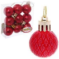 Новогодние шары 3 см (набор 9 шт) ″Рельефный узор″, красный купить оптом и в розницу