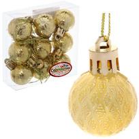 Новогодние шары 3 см (набор 9 шт) ″Рельефный узор″, золотой купить оптом и в розницу