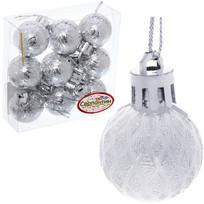 Новогодние шары 3 см (набор 9 шт) ″Рельефный узор″, серебро купить оптом и в розницу