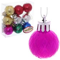 Новогодние шары 3 см (набор 9 шт) ″Рельефный узор″, микс купить оптом и в розницу
