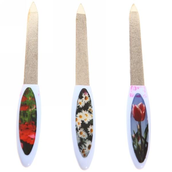 Пилка для ногтей металлическая на блистере ″Эстетика″, цвет ручки микс матовый, цвет пилки серебро,14см купить оптом и в розницу