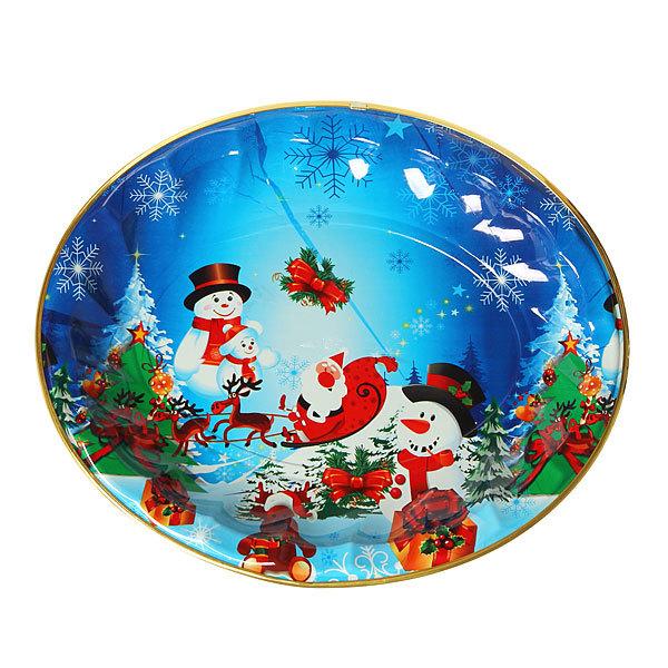 Поднос пластиковый ″Снеговики и Дед Мороз″ 44*37см купить оптом и в розницу