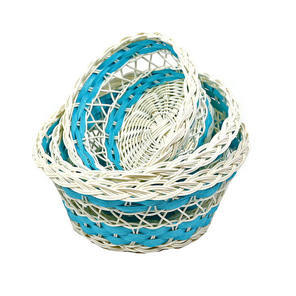 Корзинка плетёная в наборе 3 шт цветная круглая купить оптом и в розницу