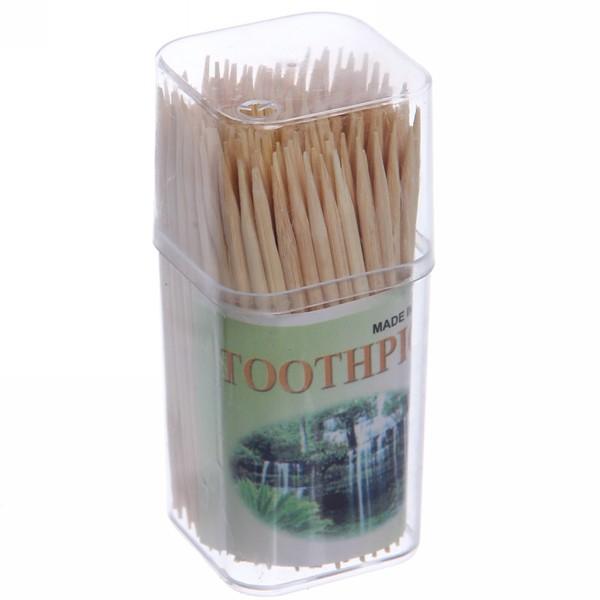 Зубочистки 150шт ″Классика″ в пластиковой квадратной банке купить оптом и в розницу