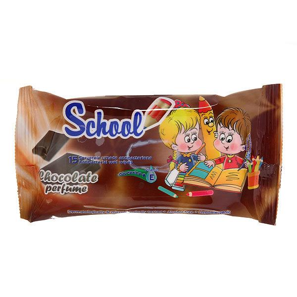 Салфетки влажные 15шт. SCHOOL шоколад купить оптом и в розницу
