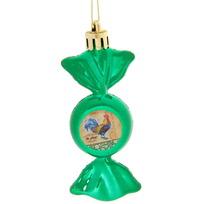 Ёлочная игрушка-конфетка ″На удачу!″, Живописный петушок (зел) купить оптом и в розницу