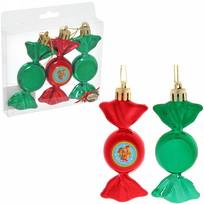 Набор из 3-х ёлочных игрушек-конфеток ″С новым годом!″, Сказочный петушок (крас-зел) купить оптом и в розницу