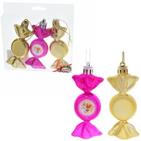 Набор из 3-х ёлочных игрушек-конфеток ″Сладкого Нового года!″, Сладкий петушок (роз-зол) купить оптом и в розницу