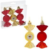 Набор из 3-х ёлочных игрушек-конфеток ″Радости в Новом году!″, Апельсиновый праздник (зол-крас) купить оптом и в розницу