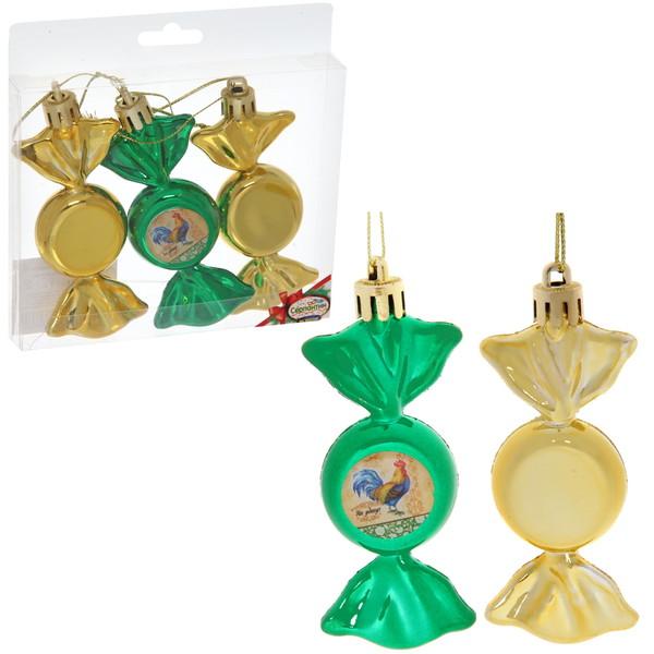Набор из 3-х ёлочных игрушек-конфеток ″На удачу!″, Живописный петушок (зел-зол) купить оптом и в розницу