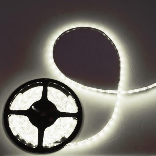 Лента светодиодная 5м*10мм, 60 ламп LED на 1м, белая,самоклейка,12В, степень защиты IP54. купить оптом и в розницу
