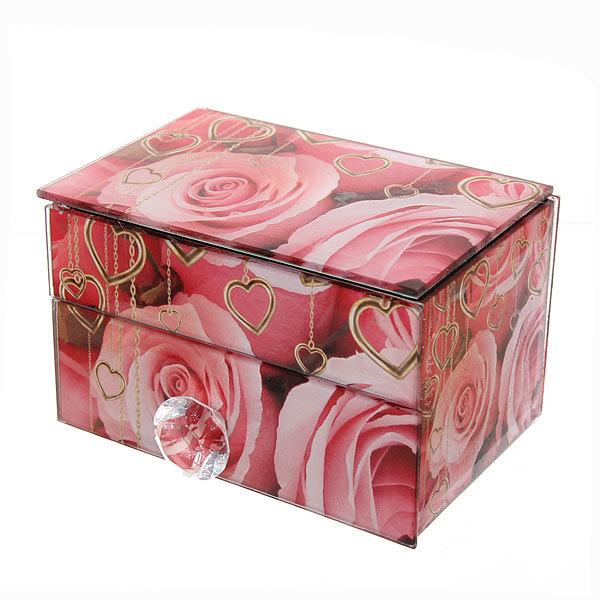Шкатулка из стекла ″Бабочка с розами″ 1 штука 12*7,5*7,1 см купить оптом и в розницу