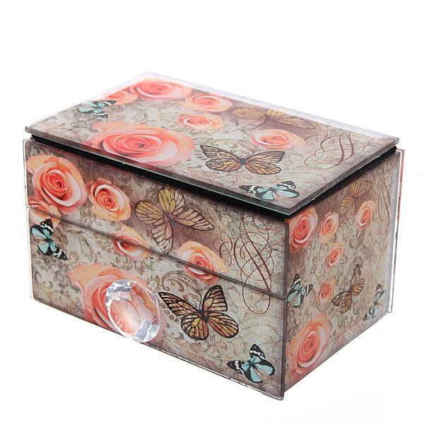 Шкатулка из стекла ″Розы и бабочки″ 12*7,5*7,1 см купить оптом и в розницу