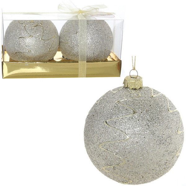 Новогодние шары ″Снежный шар″ 8см (набор 2шт.) купить оптом и в розницу