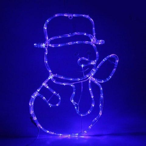 Световое панно, дюралайт, 63х45 см ″Снеговик″ синий купить оптом и в розницу