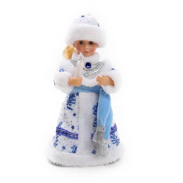 Снегурочка музыкальная 30см со свечой и шарфом купить оптом и в розницу