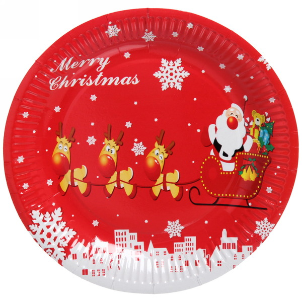 Тарелка бумажная 23 см в наборе 10 шт ″Новый год″ 6 купить оптом и в розницу