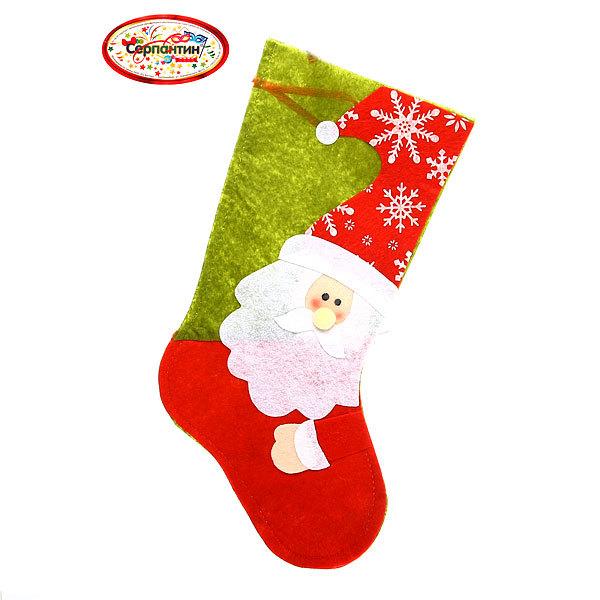 Носок новогодний 38х20 см ″Дед Мороз. Снежинки″ из фетра купить оптом и в розницу
