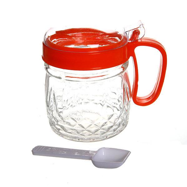 Сахарница стеклянная с ложкой 250 мл ″Грани″ красная купить оптом и в розницу