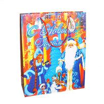 Пакет подарочный 32х26х10 см ″Дед Мороз со Снегурочкой″ купить оптом и в розницу