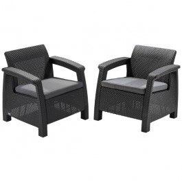 Комплект садовой мебели  ( ротанг) (2 стула) Corfu duo коричнев.\бежевый с подушками Curver купить оптом и в розницу