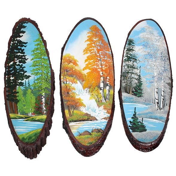 Панно из натурального камня на срезе дерева 65-69 см купить оптом и в розницу