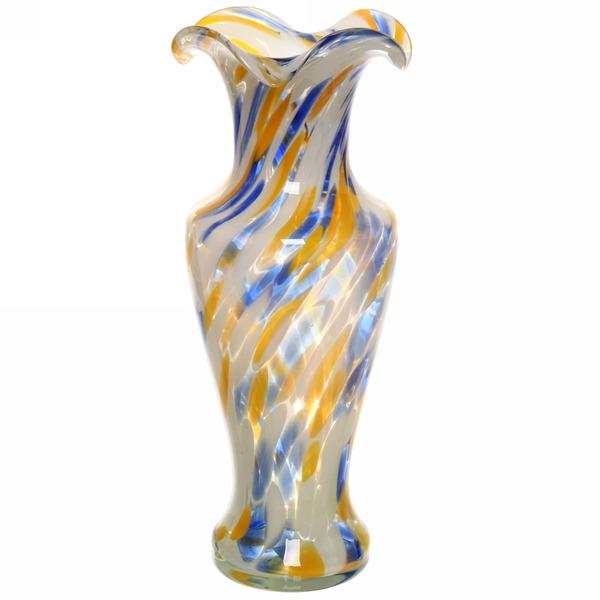 Ваза стеклянная 30см стеклокрошка сине/желтая купить оптом и в розницу