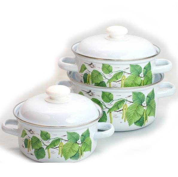 Набор посуды эмалированной 3 предмета ″Березка″ (1,5л, 2л, 3л) С-124АП2/4 купить оптом и в розницу
