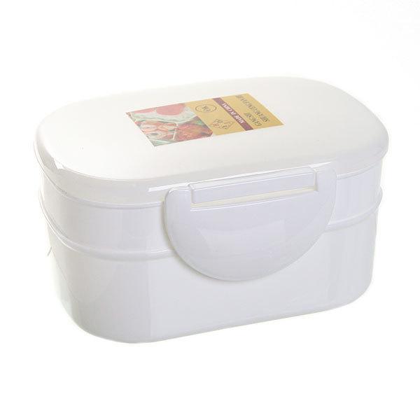 Ланч-бокс пластиковый 500 мл с тарелкой и ложкой, 2 секции Селфи купить оптом и в розницу