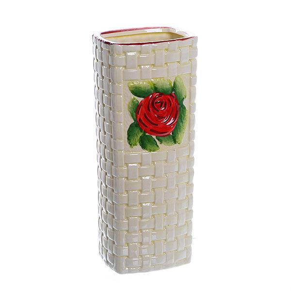 Ваза керамическая ″Роза красная″ 26см J48-QI72C купить оптом и в розницу