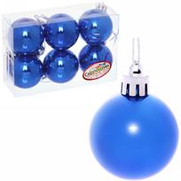 Новогодние шары 4 см (набор 6 шт) ″Глянец″, синий купить оптом и в розницу