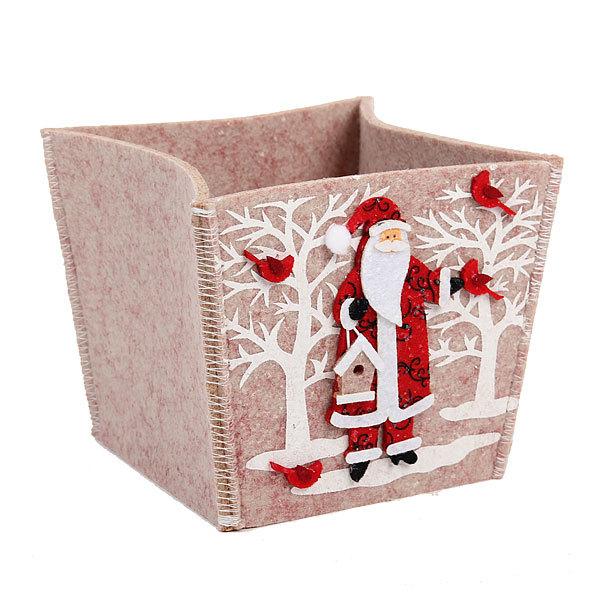 Корзинка подарочная 13*13*12 см ″Дед мороз″ купить оптом и в розницу