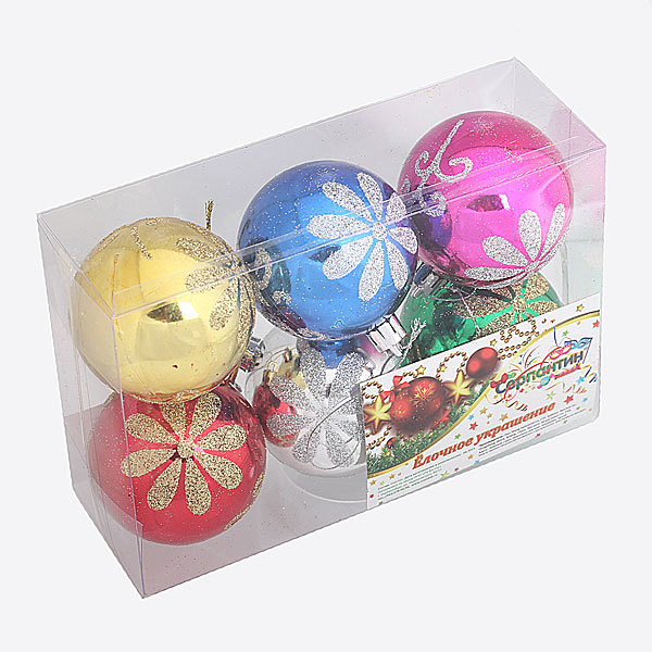 Новогодние шары ″Ассорти золотых цветов″ 6см (набор 6шт.) купить оптом и в розницу