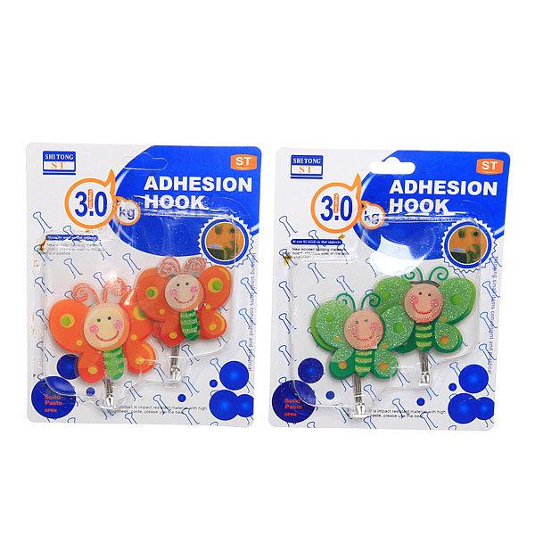 Набор крючков с липким слоем 9113 3D Бабочки (2шт., нагрузка 3кг) купить оптом и в розницу
