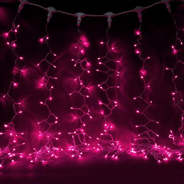 Занавес светодиодный ш 2 * в 6м, 864 лампы LED, ″Дождь″, Розовый, 8 реж, прозр.пров. купить оптом и в розницу