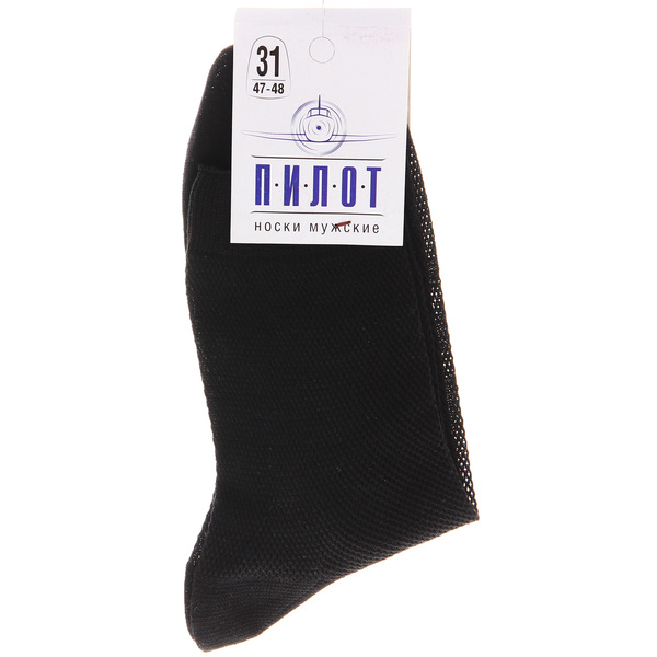 Носки мужские ПИЛОТ (М-51, сетка), чёрный, р. 31 купить оптом и в розницу
